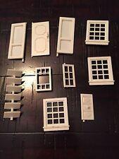 Vintage 10 Piece Doll House Parts Doors Windows