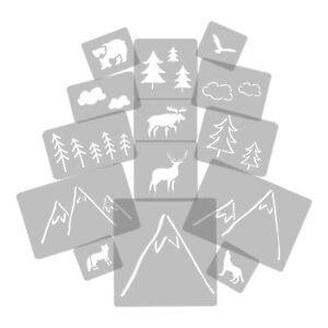 14 x Reusable Plastic Stencils // MOUNTAIN FOREST ANIMAL // 34cm to 8cm // KIDS