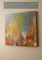 "BRAVO! MODERNIST ORIGINAL ABSTRACT OIL PAINTING! ""ARIZONA SYMPHONY"" ART VTG RED"