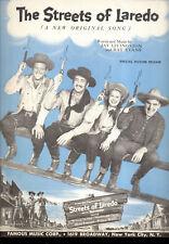 "STREETS OF LAREDO Sheet Music ""Streets Of Laredo"" William Holden Mona Freeman"