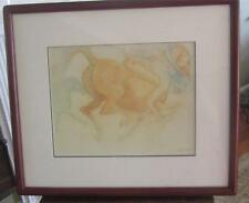 ORIGINAL GUILLAUME AZOULAY PRISMA PENCIL NATIVE AMERICAN & HORSE SCENE - SIGNED