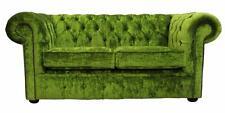 Chesterfield 2 Seater Modena Pistachio Green Velvet Fabric Sofa Settee