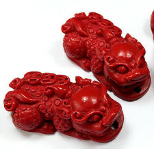 16x32mm Red cinnabar carved pendant Beads 5PCS