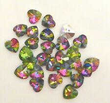 10 Rainbow Heart Crystal Beads 14mm RAINBOW AB LUSTRE silver back reflects well