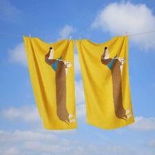 "Rapport ""Long Dog"" Sausage Dog Novelty Towel/Beach Yellow 100% Cotton 70 x 120cm"