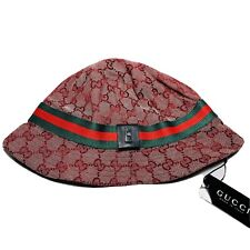 Vintage GUCCI Logo GG Monogram Hat Bucket Cap Red Size M Unisex Made In Italy