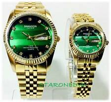 SWANSON JAPAN GOLD  WATCH GREEN FACE WITH DIAMOND SET 2WATCH NEW