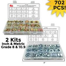 INCH & METRIC GRADE 8 &10.9 Hex Nuts SAE Flat & Split Lock Washers Assortment
