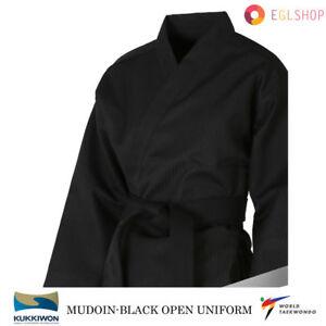MUDOIN Black Open Taekwondo Uniform FREE BELT GIFT WTF Poom TKD Martial Arts MMA