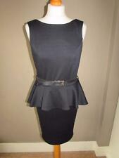 ASOS Ladies Black Stretchy Thick Jersey Peplum Dress With Belt Size 10 VGC