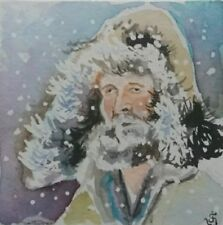 Hand Painted Original Watercolor FREEZING Winter Adventure Journey Signed by JV