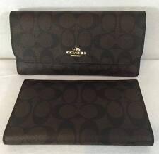 NEW COACH Signature PVC Trifold Checkbook Wallet Brown /Black F52681 $250
