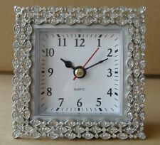 Pewter  Silver Desk / Vanity Clock With Crystal Stones