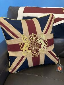 Royal Crest Vintage Union Jack Cushion By Woven Magic ( Tea Dyed 18x18 Inches)