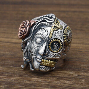 Men's Sugar Skull Rose Lady 2 Faces Gothic 925 Sterling Silver &Brass Ring A3397