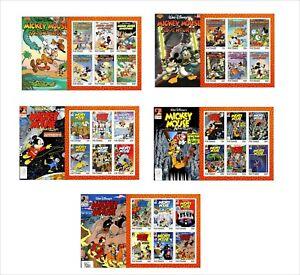 2020 DISNEY  MICKEY MOUSE ADVENTURES 5 SOUVENIR SHEETS UNPERFORATED COMICS