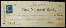 1878 LE ROY NEW YORK FIRST NATIONAL BANK WITH REVENUE STAMP BUSINESS HISTORY