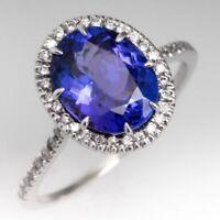 2.50CT Tanzanite and Diamond Halo Engagement Ring 14K White Gold Finish