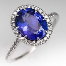 2.50CT Tanzanite and Diamond Halo Engagement Ring 14K White Gold Finish