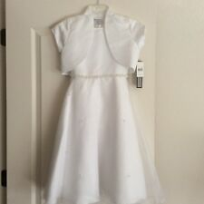 NWT! 2PC. JAYNE COPELAND WHITE SATIN BOLERO & DRESS SET! GIRLS 10  $99.00+ WOW!!