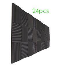 """24 Pack Charcoal Acoustic Panels Studio Foam Wedges 1"""" X 12"""" X 12"""" (24pcs black)"""