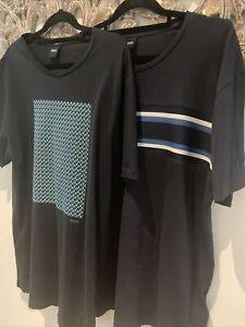 X2 Hugo Boss T Shirt Mens ~ XL ~ Dark Navy Black Short Sleeve Tee BOSS  Designer