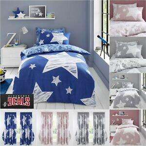 STARS BEDDING SET Boys Duvet Cover Curtains Reversible Kids Fitted Sheet Covers
