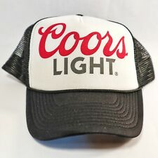 Vintage Coors Light Hat Cap Mesh Snapback Trucker Black & White