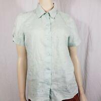 Laura Ashley Linen Floral Shirt Blouse Green Blue Button Down Size M 14-16