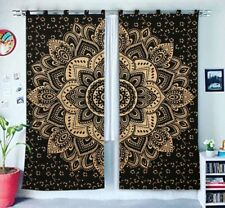 Cotton Balcony Wall Drapes Black Gold Ombre Mandala Hippie Window Door Curtains