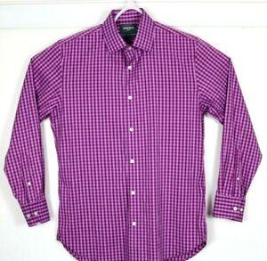 BONOBOS Men's Button Down Shirt Long Sleeve Size Large Slim Fit Check Purple