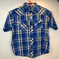 Men's Gioberti Italy Blue Gray White Plaid Western Pearl Snap Shirt in Size 3X