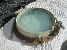 "Vintage Brass/Bronze and steel porthole 16-3/4"" overall diameter"