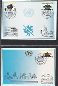 UNITED NATIONS GENEVA 2 FIRST DAY COVERS 1993 HEALTHY ENVIRONMENT ON MAXI CARDS