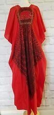 Handmade Kaftan African Traditional Dress Red Elephant Embroidered Dress OSFM