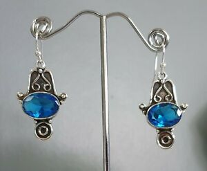 925 Sterling Silver Overlaid Faceted Blue Topaz Quartz Dangle Earrings