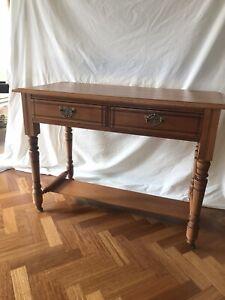 Edwardian kauri ?  pine kitchen Side Hall table Circa 1910 Two Drawers