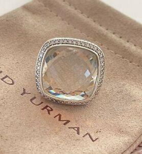 David Yurman 925 Silver Albion 20mm White Topaz & Diamond Ring Size 8
