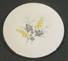 Vintage Primrose China USA Yellow Flower Gray Leaf Silver Trim Dinner Plate EUC