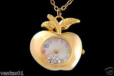 Apple Pendant Watch Chain Necklace with sparkling crystals Dial Teacher Gift
