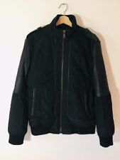jack and jones mens Jacket Black Genuine Leather And Woven Combo Size M