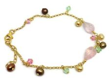 Pretty Rose quartz Bracelet, gold overlay on solid Sterling Silver, New, Pearls.