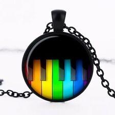 UK RETRO PIANO KEYS PENDANT NECKLACE Jewellery Gift Idea Music Pianist Musician