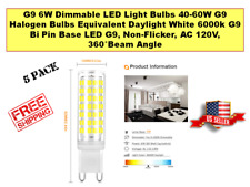 Dimmable G9 6W LED Light Bulbs 40-60W Halogen Equivalent Daylight White 6000k Bi