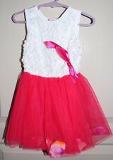 Size 3 - White and Hot Pink Dress with Flower Petals in Lined Skirting