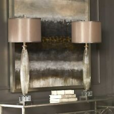 TWO LOREDO MERCURY GLASS BUFFET TABLE LAMPS SILKEN SHADE CRYSTAL UTTERMOST