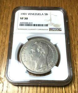 1901 Venezuela 5 Bolivars silver NGC VF 30 UNDERGRADED lustrous Scarce KEY DATE