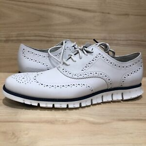 Cole Haan ZeroGrand Wingtip Oxford Shoes Optic White True Blue SZ 11 C32123 RARE