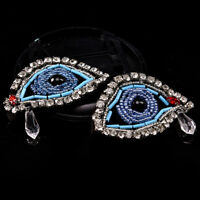 1Pair Rhinestone eye Beaded Patch for Clothing Sewing on Beading Applique DIY Nk