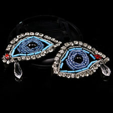 1Pair Rhinestone eye Beaded Patch for Clothing Sewing on Beading Applique D C